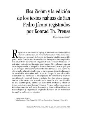 Elsa Ziehm y la edición de los textos nahuas de San Pedro Jícora registrados por Konrad Th. Preuss