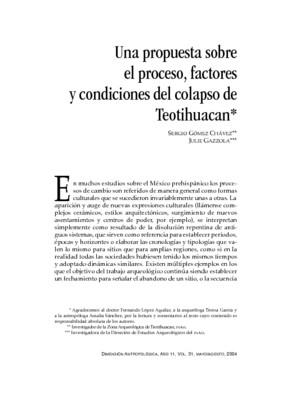 Una propuesta sobre el proceso, factores y condiciones del colapso de Teotihuacan
