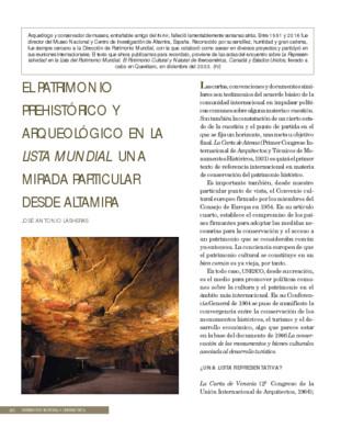 El patrimonio prehistórico y arqueológico en la Lista Mundial. Una mirada particular desde Altamira