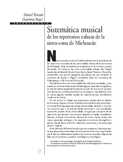Sistemática musical de los repertorios nahuas de la sierra-costa de Michoacán