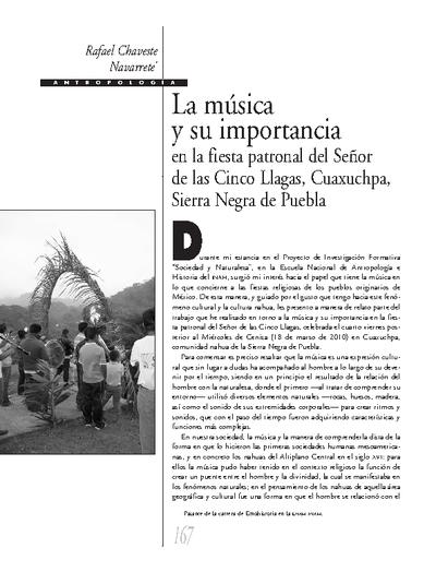 La música y su importancia en la fiesta patronal del señor de las Cinco Llagas, Cuaxupa, Sierra Negra de Puebla.