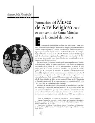 Formación del Museo de Arte Religioso en el ex convento de Santa Mónica de la ciudad de Puebla