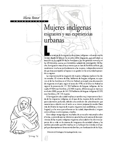 Mujeres indígenas migrantes y sus experiencias urbanas