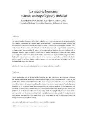 La muerte humana, marcos antropológico y médico