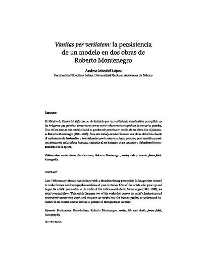 Vanitas per veritatem: La persistencia de un modelo en dos obras de Roberto Montenegro