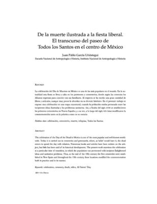 De la muerte Ilustrada a la fiesta liberal. El transcurrir del paseo de todos los santos en el centro México.