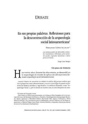 En sus propias palabras. Reflexiones para la desconstrucción de la arqueología social latinoamericana