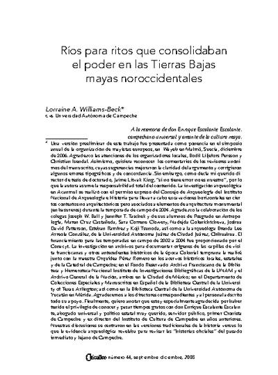 Ríos para ritos que consolidaban el poder en las Tierras Bajas mayas noroccidentales