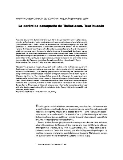 La cerámica oaxaqueña de Tlailotlacan, Teotihuacán