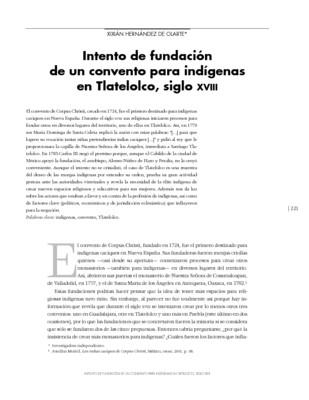 Intento de fundación de un convento para indígenas en Tlatelolco, siglo XVIII