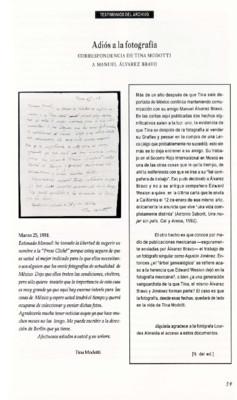 Adiós a la fotografía. Correspondencia de Tina Modotti a Manuel Álvarez Bravo