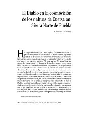 El Diablo en la cosmovisión de los nahuas de Cuetzalan, Sierra Norte de Puebla