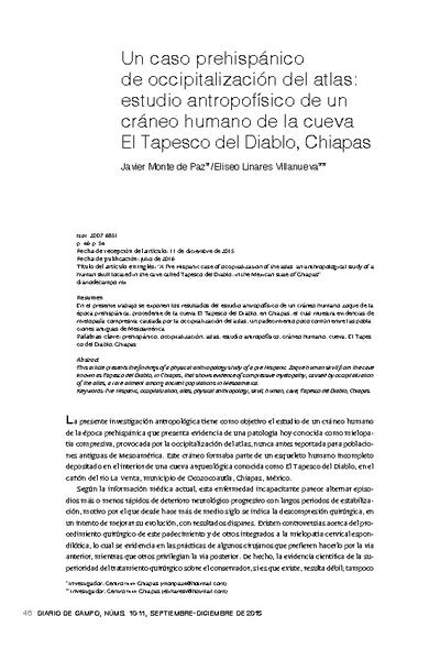 Un caso prehispánico de occipitalización del atlas: estudio antropofísico de un cráneo humano de la cueva El Tepesco del Diablo, Chiapas