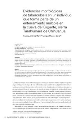 Evidencias morfológicas de tuberculosis en un individuo que forma parte de un enterramiento múltiple en la cueva del Gigante, sierra Tarahumada de Chihuahua