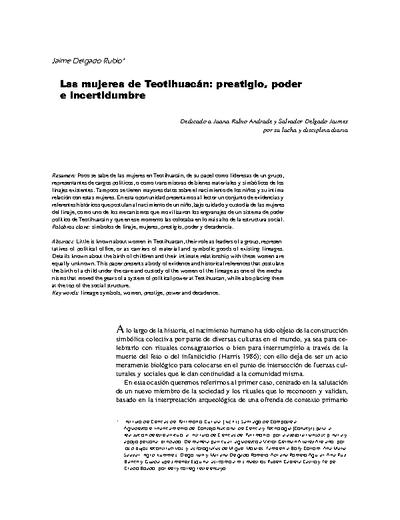 Las mujeres de Teotihuacán: prestigio, poder e incertidumbre