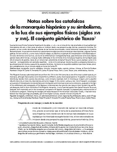 Notas sobre los catafalcos de la monarquía hispánica y su simbolismo, a la luz de sus ejemplos físicos (siglos XVII y XVIII). El conjunto pictórico de Taxco