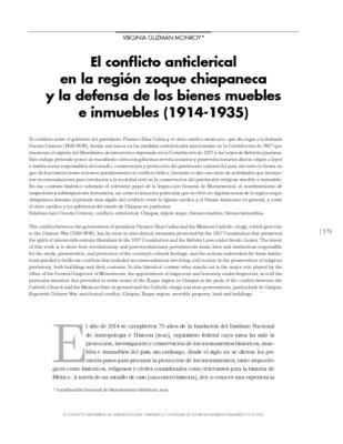 El conflicto anticlerical en la región zoque chiapaneca y la defensa de los bienes muebles e inmuebles (1914-1935)