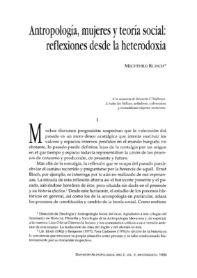 Antropología, mujeres y teoría social: reflexiones desde la heterodoxia