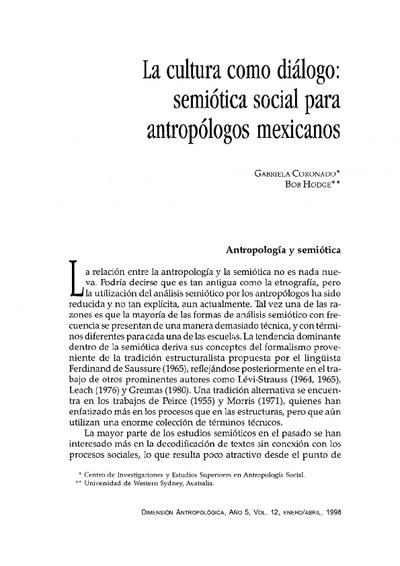 La cultura como diálogo: semiótica social para antropólogos mexicanos