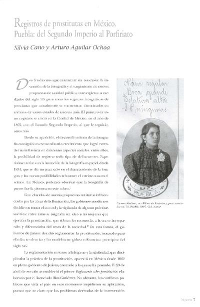 Registros de prostitutas en México. Puebla: del Segundo Imperio al Porfiriato