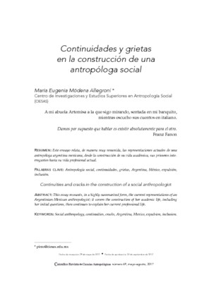 Continuidades y grietas en la construcción de una antropóloga social