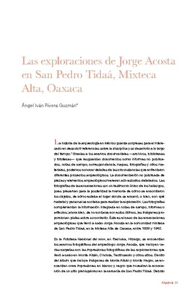 Las exploraciones de Jorge Acosta en San Pedro Tidaá, Mixteca Alta, Oaxaca