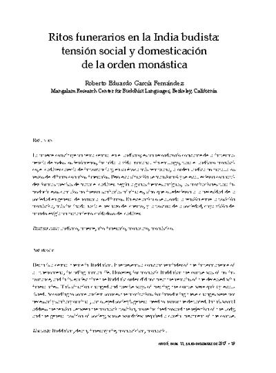 Ritos funerarios en la India budista: Tensión social y domesticación de la orden monástica