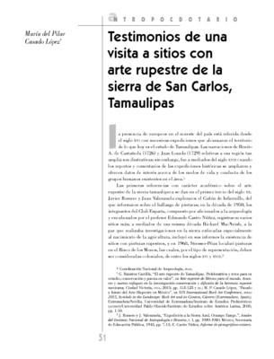 Testimonios de una visita a sitios con arte rupestre de la sierra de San Carlos, Tamaulipas
