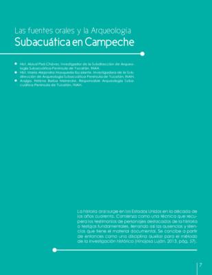 Las fuentes orales y la Arqueología Subacuática en Campeche