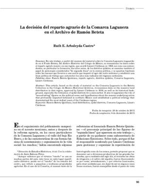 La decisión del reparto agrario de la Comarca Lagunera en el Archivo de Ramón Beteta