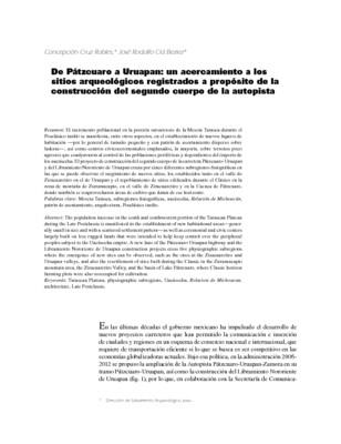 De Pátzcuaro a Uruapan: un acercamiento a los sitios arqueológicos registrados a propósito de la construcción del segundo cuerpo de la autopista