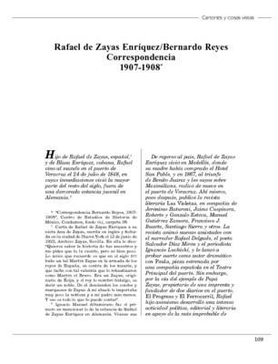 Rafael de Zayas Enríquez/Bernardo Reyes Correspondencia 1907-1908