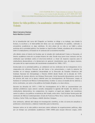 Entre la vida política y la academia: entrevista a Saúl Escobar Toledo