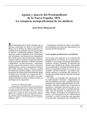 Agonía y muerte del Protomedicato de la Nueva España, 1831. La categoría socioprofesional de los médicos