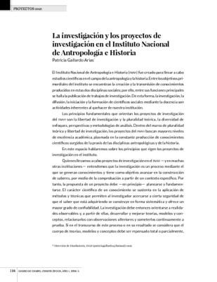 La investigación y los proyectos de investigación en el Instituto Nacional de Antropología e Historia