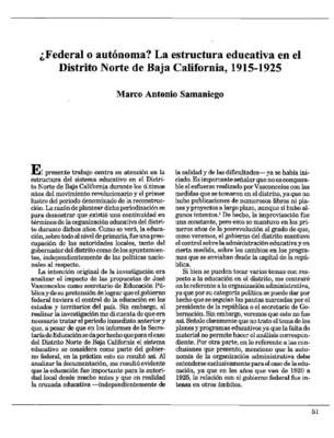 ¿Federal o autónoma? La estructura educativa en el Distrito Norte de Baja California, 1915-1925