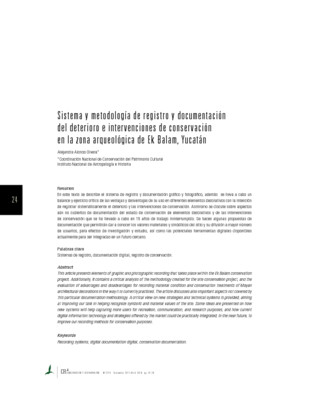 Sistema y metodología de registro y documentación del deterioro e intervenciones de conservación en la zona arqueológica de Ek Balam, Yucatán