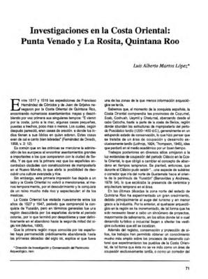 Investigaciones en la Costa Oriental: Punta Venado y La Rosita, Quintana Roo