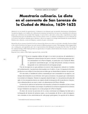 Muestrario culinario. La dieta en el convento de San Lorenzo de la Ciudad de México, 1624-1625