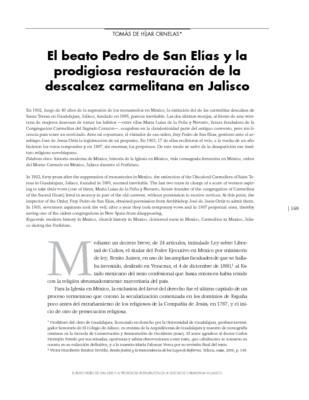 El beato Pedro de San Elías y la prodigiosa restauración de la descalcez carmelitana en Jalisco