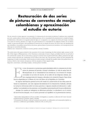 Restauración de dos series de pinturas de conventos de monjas colombianas y aproximación al estudio de autoría