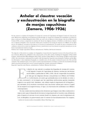 Anhelar el claustro. Vocación y exclaustración en la biografía de monjas capuchinas (Zamora, 1906-1936)