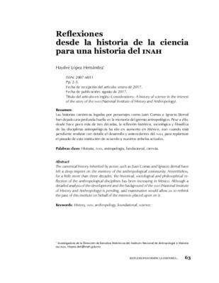 Reflexiones desde la historia de la ciencia para una historia del INAH