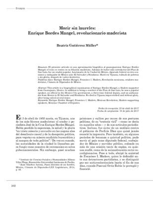 Morir sin laureles: Enrique Bordes Mangel, revolucionario maderista