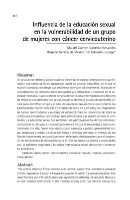 Influencia de la educación sexual en la vulnerabilidad de un grupo de mujeres con cáncer cervicouterino