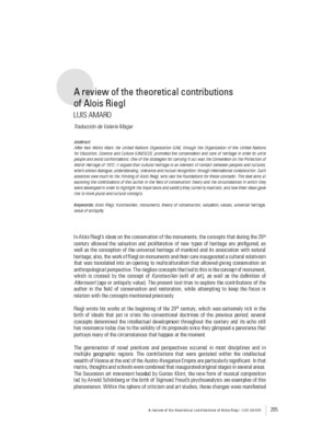 A review of the theoretical contributions of Alois Riegl