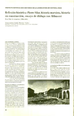 Reflexión histórica: Pierre Villar, historia marxista, historia en construcción, ensayo de diálogo con Althusser