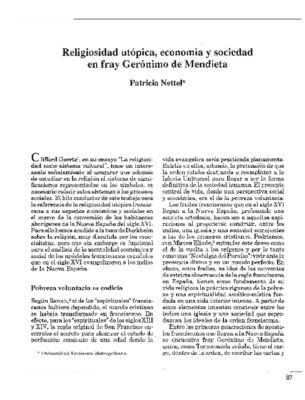 Religiosidad utópica, economía y sociedad en fray Gerónimo de Mendieta
