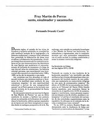 Fray Martín de Porras santo, ensalmador y sacamuelas