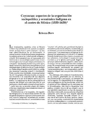 Coyoacan: aspectos de la organización sociopolítica y económica indígena en el centro de México (1550-1650)